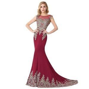 Dresses & Skirts - Long Prom Sequin Mermaid Embellished Burgundy